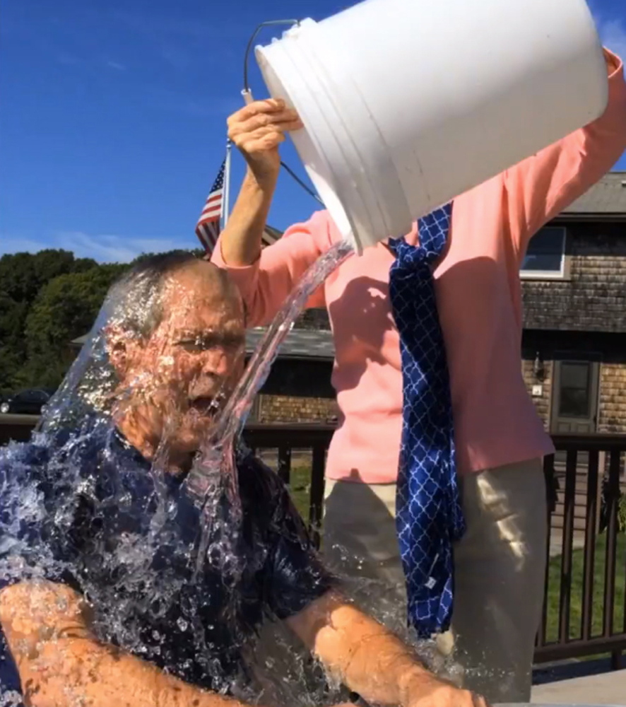 "Former President George W. Bush participates in the ""ice bucket challenge"" with the help of his wife, Laura Bush, in Kennebunkport. The challenge is ""like a modern-day chain letter,"" said the author of a book on why things catch on."