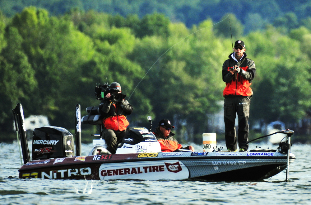 "Aaron Martens casts Saturday during a ""Major League Fishing"" event on China Lake in China."