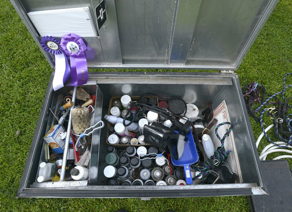 Adam Pride's show box full of equipment used in grooming cows at his small farm in Limington.
