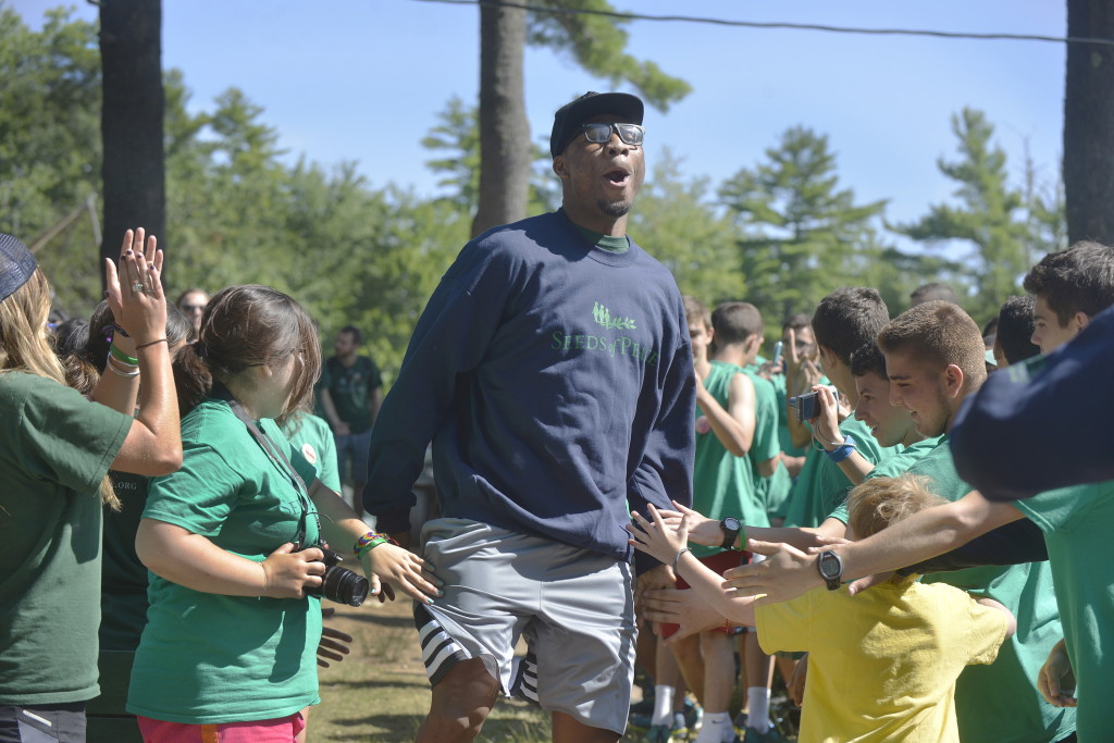 Marcus Smart, the Boston Celtics' first-round draft pick, gets an enthusiastic greeting after being introduced to the campers at Seeds of Peace on Friday.