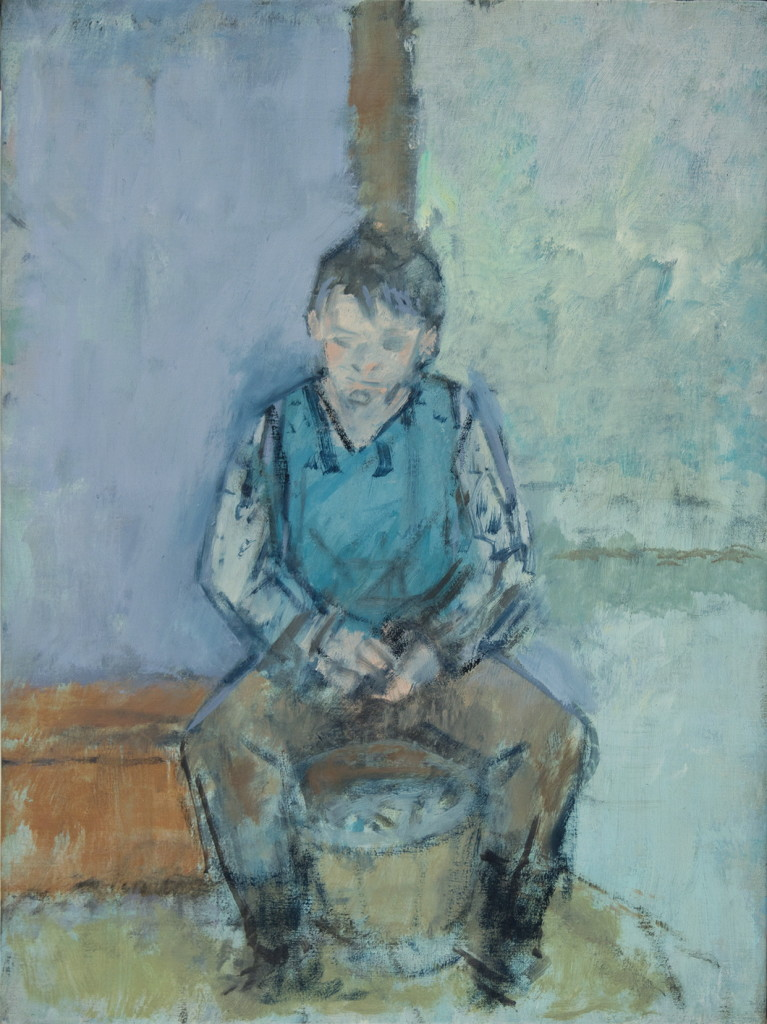 Study of Boy Shucking Clams, 1988, oil on canvas, 16 x 12 inches