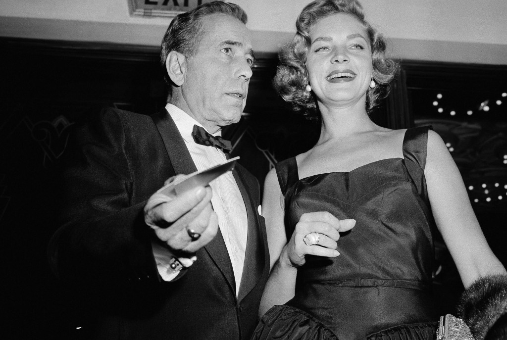 """Humphrey Bogart and Lauren Bacall turn out for the premiere of """"The Desperate Hours"""" in Los Angeles in October 1955."""