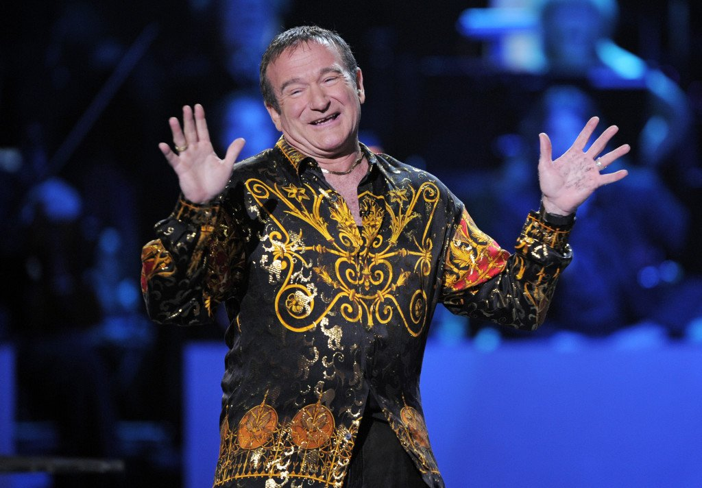 """Robin Williams speaks on stage at the """"Idol Gives Back"""" fundraising special of """"American Idol"""" in Los Angeles in 2008."""