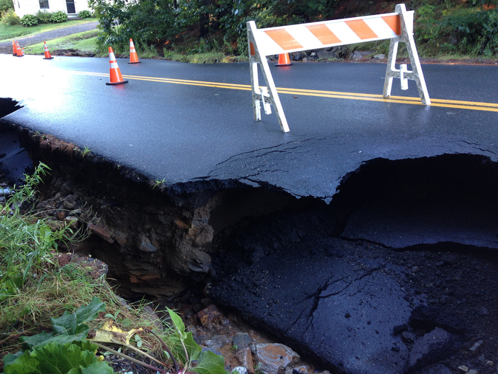 Portions of Upper Mast Landing Road in Freeport were closed Thursday morning after Wednesday night's storm damaged pavement.