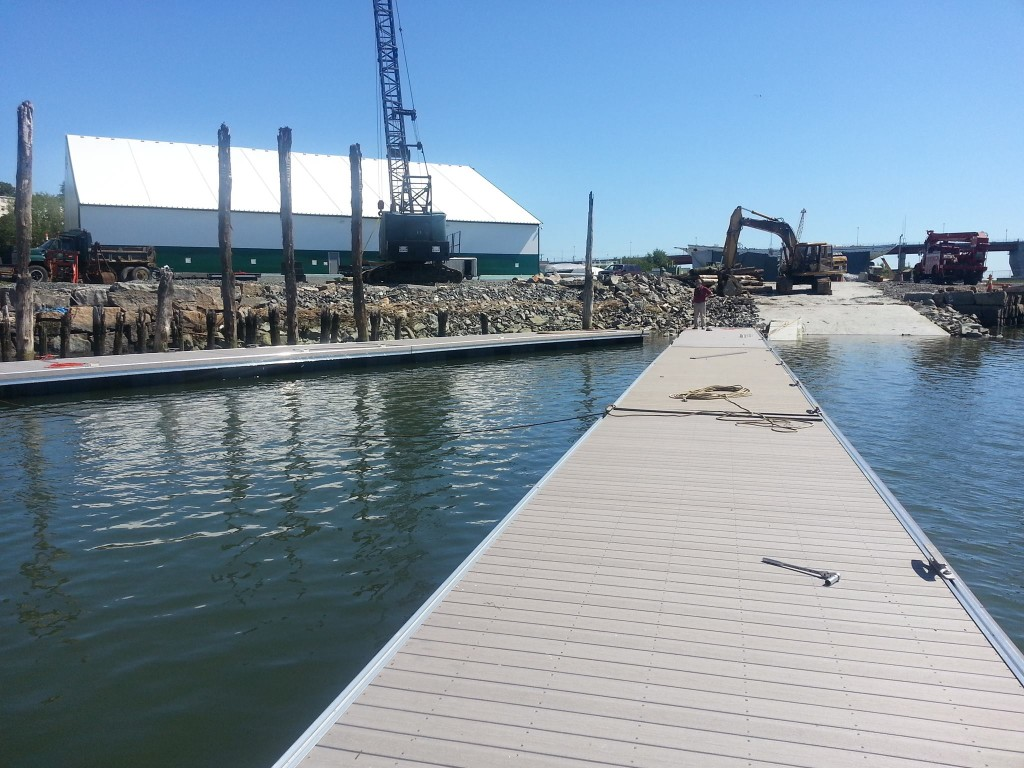 A view of the new dock being installed at Portland Yacht Services' new facility on West Commercial Street in Portland. Courtesy Portland Yacht Services