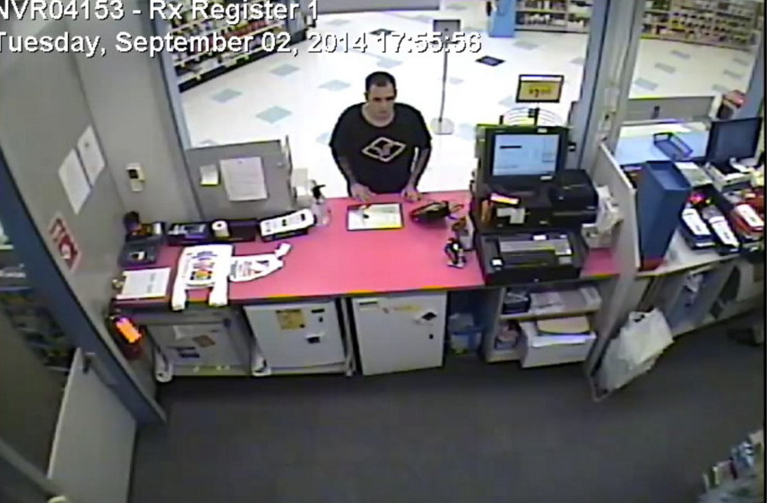 A photo from surveillance video shows a robbery suspect Tuesday at the Rite Aid pharmacy on Hospital Street in Augusta.