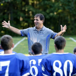 """Under Joe Rafferty, seen at the start of the 2014 season, Kennebunk has had success in Class B. But, he said, to play a team like Class A power Thornton Academy, """"I'm going to need a big incentive."""""""