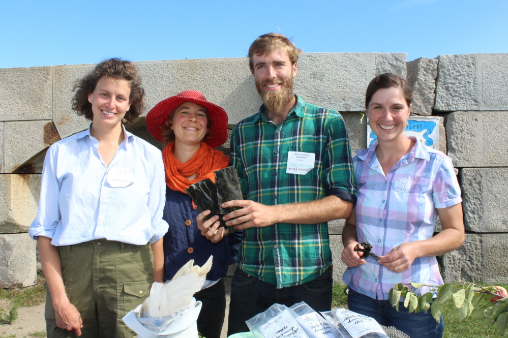 Severine von Tscharner Fleming, left, director of thegreenhorns.net; vegetable farmer Erin Bullock; Micah Woodcone, owner of Atlantic Holdfast Seaweed Company; and Amber Reed, who manages a livestock farm at the first Maine Seaweed Festival in South Portland.