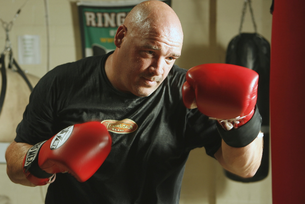 Ron Aubrey was a hockey player for Cape Elizabeth as a kid, but over the years he has taken a shot at boxing. For his 48th birthday, he will fight a former heavyweight champ.