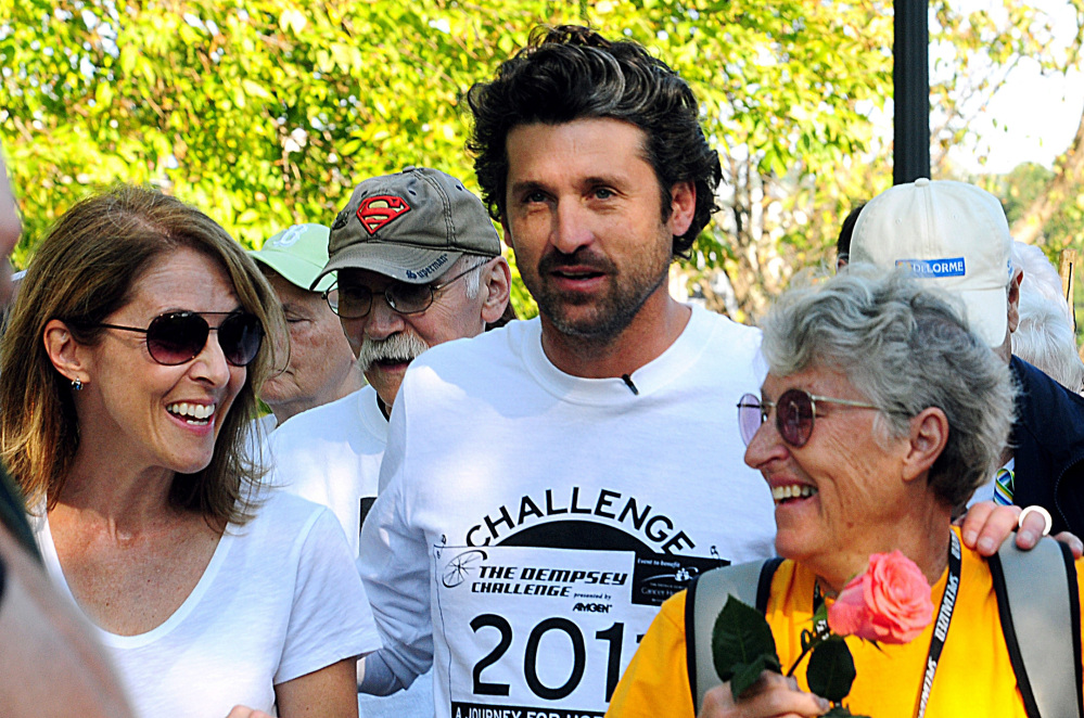 Actor Patrick Dempsey prepares to start the survivor walk that opened the Dempsey Challenge, with his mother, Amanda Dempsey, in 2011. She died in March after being diagnosed with ovarian cancer in 1997. Last year's event raised $1.1 million.