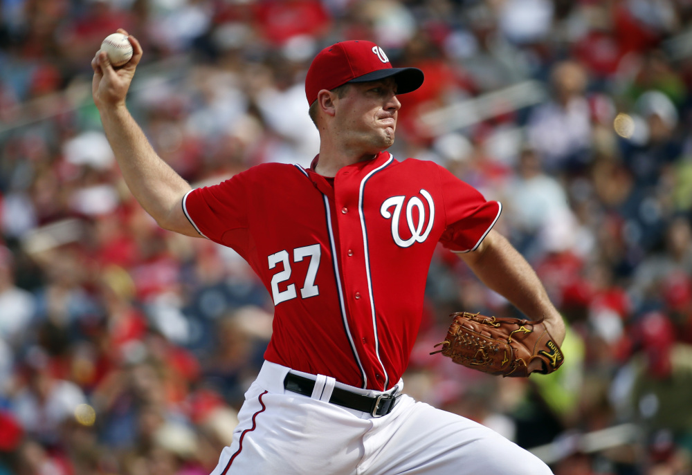 Pitcher Jordan Zimmermann threw the first no-hittter by a Washington Nationals pitcher Sunday against the Miami Marlins.