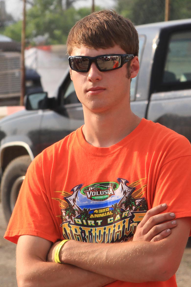 This June 28, 2014, photo provided by Empire Super Sprints, Inc., shows sprint car driver Kevin Ward Jr., at the Merrittville Speedway in Thorold, Canada.