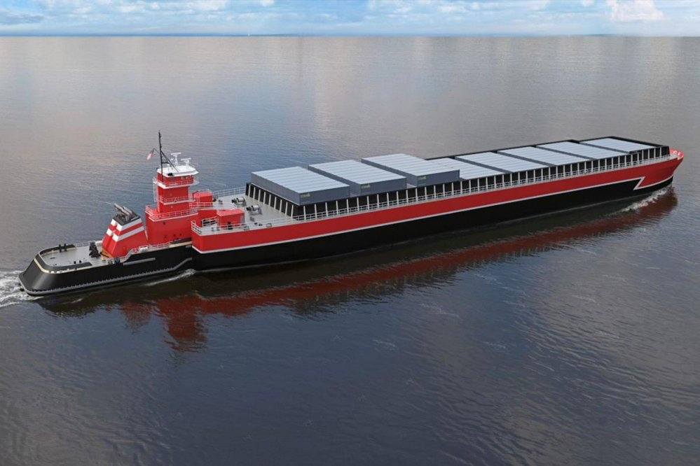 A hybrid tugboat-and-barge vessel, seen in an artist's rendering, could revive a long-abandoned coastal shipping route between Portland and New York, supporters say.