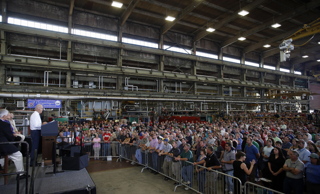 """Vice President Joe Biden, speaking to shipyard workers at the Portsmouth Naval Shipyard in Kittery on Wednesday, said the shipyard is the """"best in the world."""""""