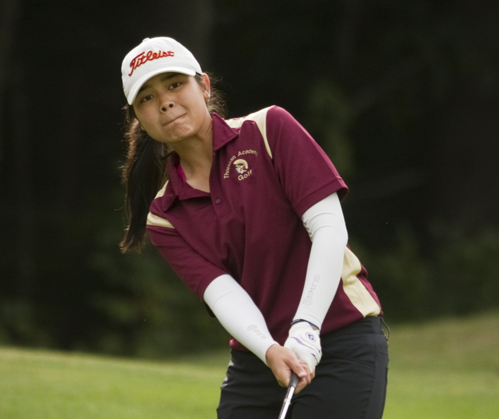 Hashilla Rivai from Indonesia is enjoying her time at Thornton Academy. She has moved to the top spot on the Trojans' golf team, is doing well in her classes and, oh, she's also a pretty good singer. Carl D. Walsh/ Staff Photographer