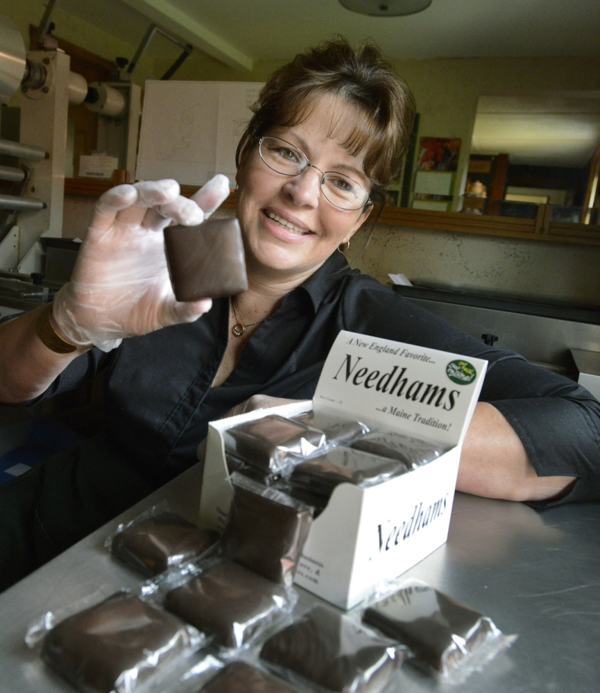 Linda Lenberg of Linda's Gourmet Chocolates turns out 2,000 needhams a week in her Norway kitchen.