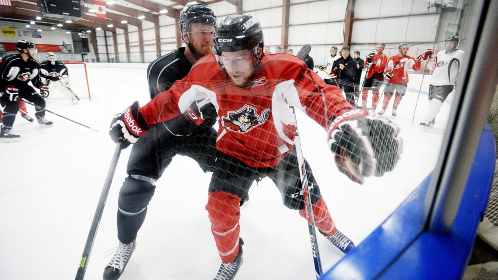Mark Anthoine, the Lewiston native who played for the University of Maine, got a taste of the fast pace of an American Hockey League training camp Tuesday. Anthoine is working out with the Pirates but has a contract with Evansville of the ECHL.