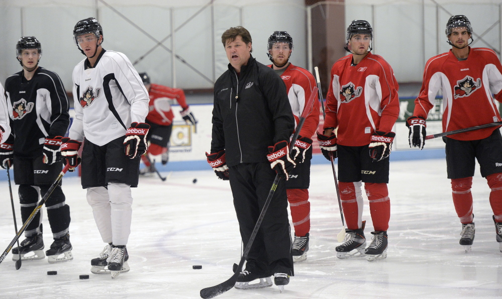 SACO, ME - SEPTEMBER 29: Portland Pirates head coach Ray Edwards looks on during the teams first practice of the season Tuesday, September 30, 2014 in Saco. (Photo by Shawn Patrick Ouellette/Staff Photographer)