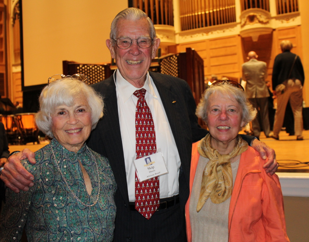 Gerry and Skip Orem, left, longtime FOKO members, with Sally Serunian, a member of the President's Council of the Portland Symphony Orchestra.