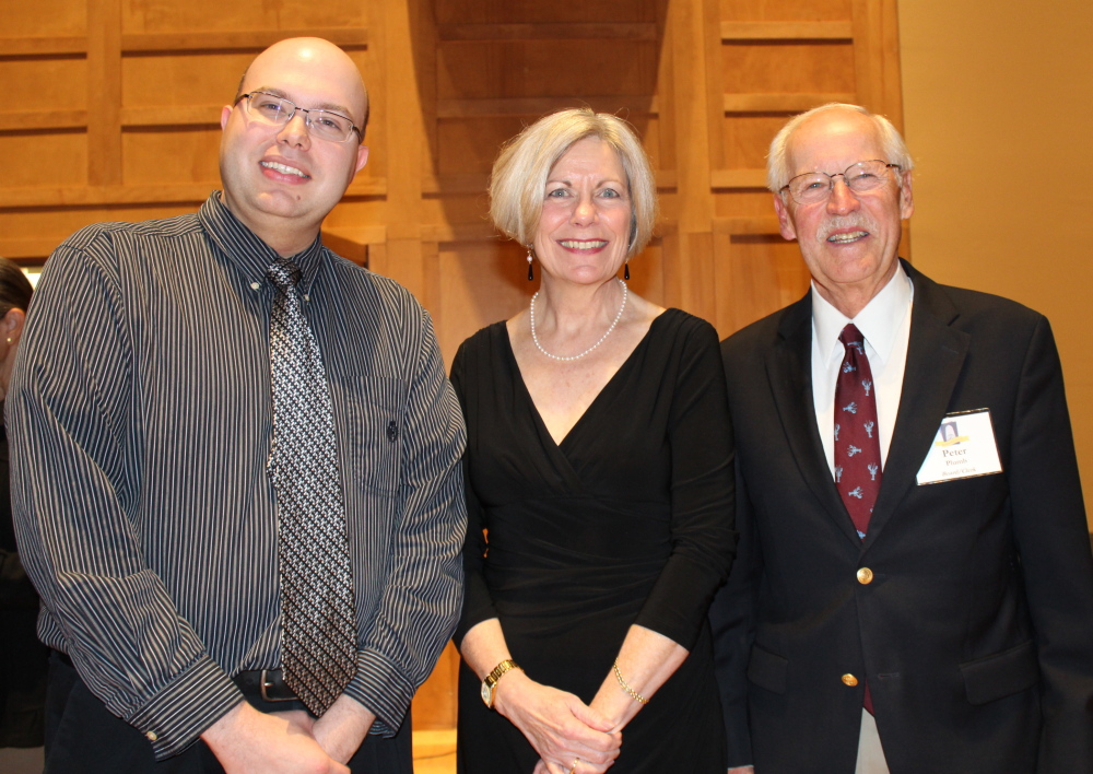 """Carson Cooman, composer of the """"Concertino FOKO,"""" with Kathleen Grammer, FOKO executive director, and Peter Plumb, founding president and board member of the organ friends group."""