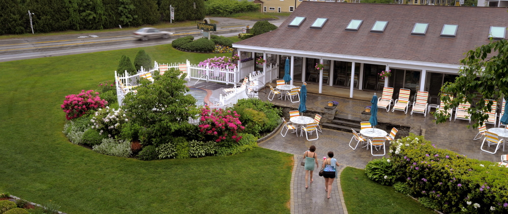 The gardens and pools at Meadowmere Resort in Ogunquit, seen early last summer, are environmentally friendly. Ogunquit is considering an ordinance that would ban chemical pesticides, fertilizers and herbicides.