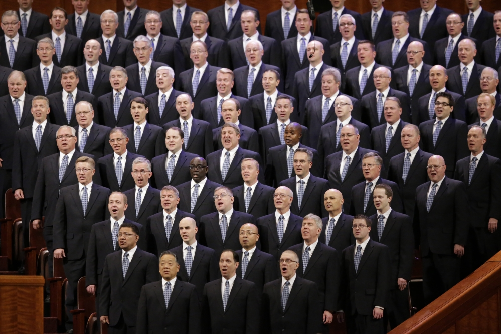 Members of the Mormon Tabernacle Choir sing during the opening session of a two-day Mormon church conference April 5 in Salt Lake City. The expanding international footprint of the Mormon church will be on display this weekend starting Saturday, during a conference that brings 100,000 members to Salt Lake City to listen to guidance and inspiration from church leaders. The Associated Press