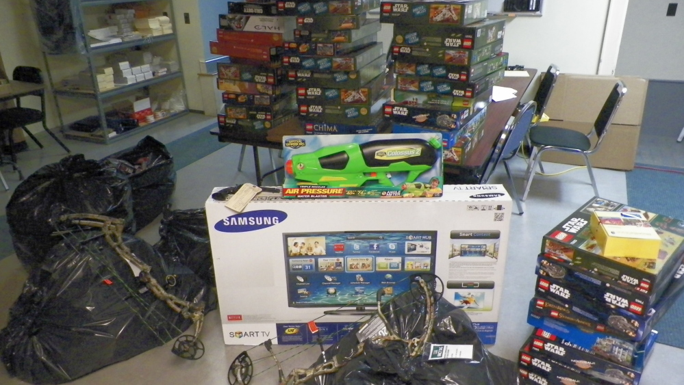 Shown are stolen store items seized by authorities Thursday as part of an investigation into a theft ring.