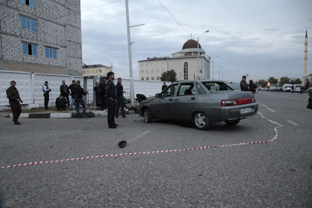 Police cordoned off the place of explosion in the Chechen regional capital, Grozny, Russia, Sunday.