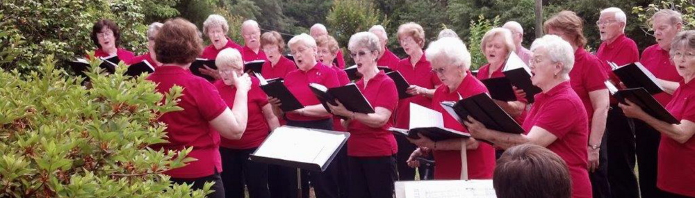"""Members of the First Joy Senior Choir of the  First Baptist Church of Tallahassee, Fla., perform in the yard of a homebound church member. """"We couldn't fit in the house, so we sang in the yard,"""" said choir director Penny Folsom."""