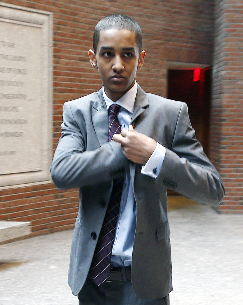 Robel Phillipos arrives last week at federal court in Boston. He is charged with lying to authorities about being in Boston Marathon bombing suspect Dzhokhar Tsarnaev's dorm room while two other friends removed Tsarnaev's backpack and laptop.