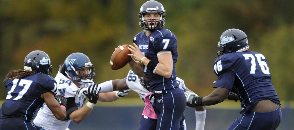 Maine quarterback Dan Collins steps up in the pocket to throw late in the fourth quarter of a 41-20 loss to CAA opponent Villanova Saturday.