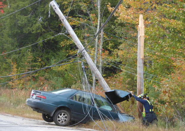A crash on Route 35 in Standish brought down a utility pole Tuesday morning, causing traffic to be rerouted.