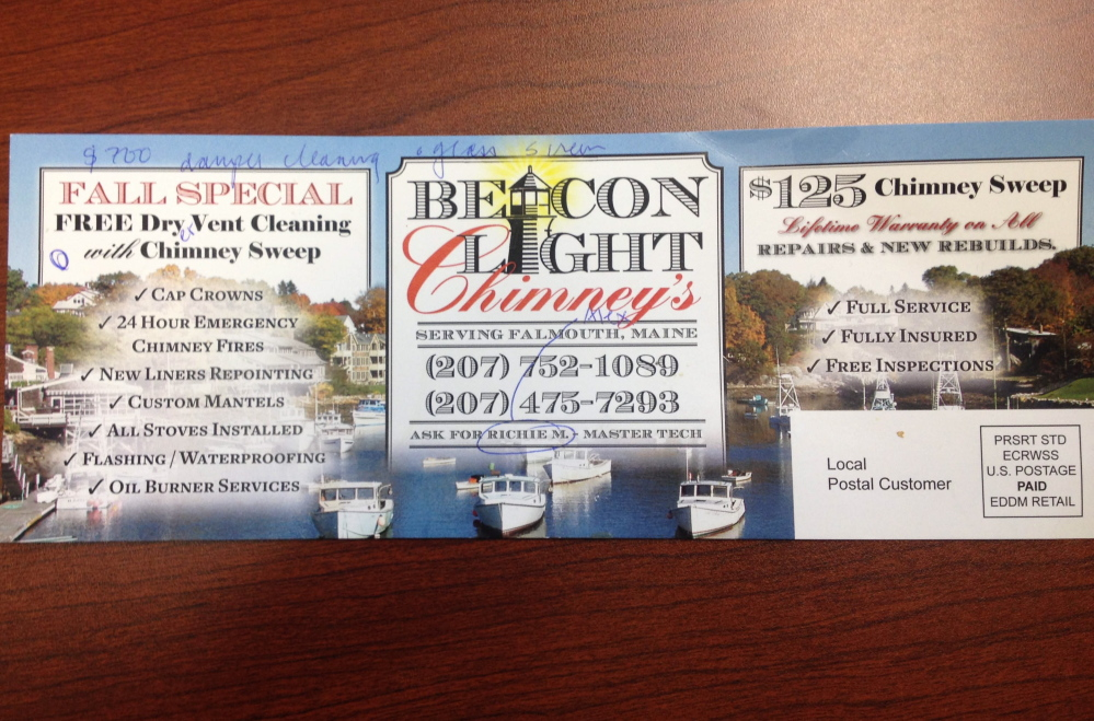 Falmouth police say Richard T. Myers distributed these fliers to drum up customers.