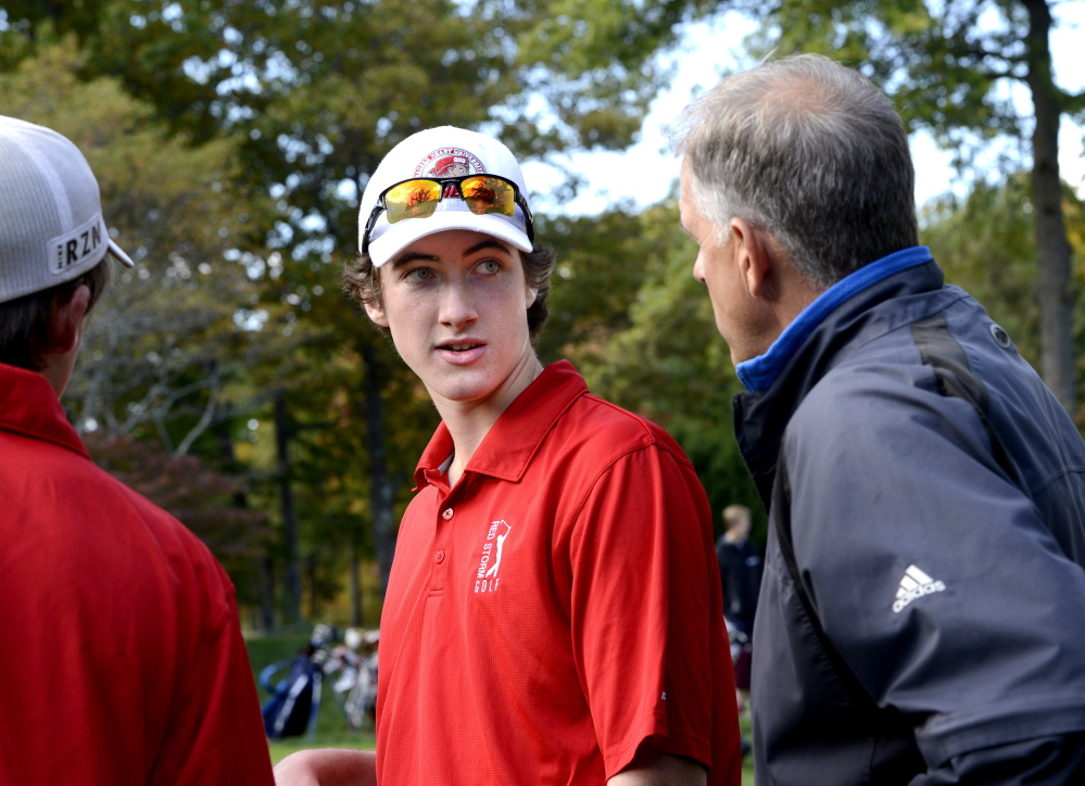 Mike Murphy, right, with Braeden Kane, hasn't won a team state title in his 26 seasons as the Scarborough High golf coach. But he has a good chance Saturday with a talent-laden group that's met every challenge this season.
