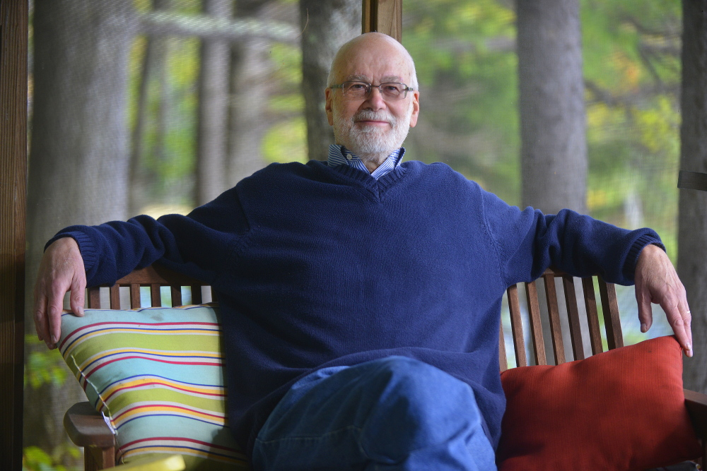 Maine poet laureate, Wesley McNair at his writing camp in Temple. Right, McNair's latest book, inspired by reuniting with family in the Ozarks after his mother's death.