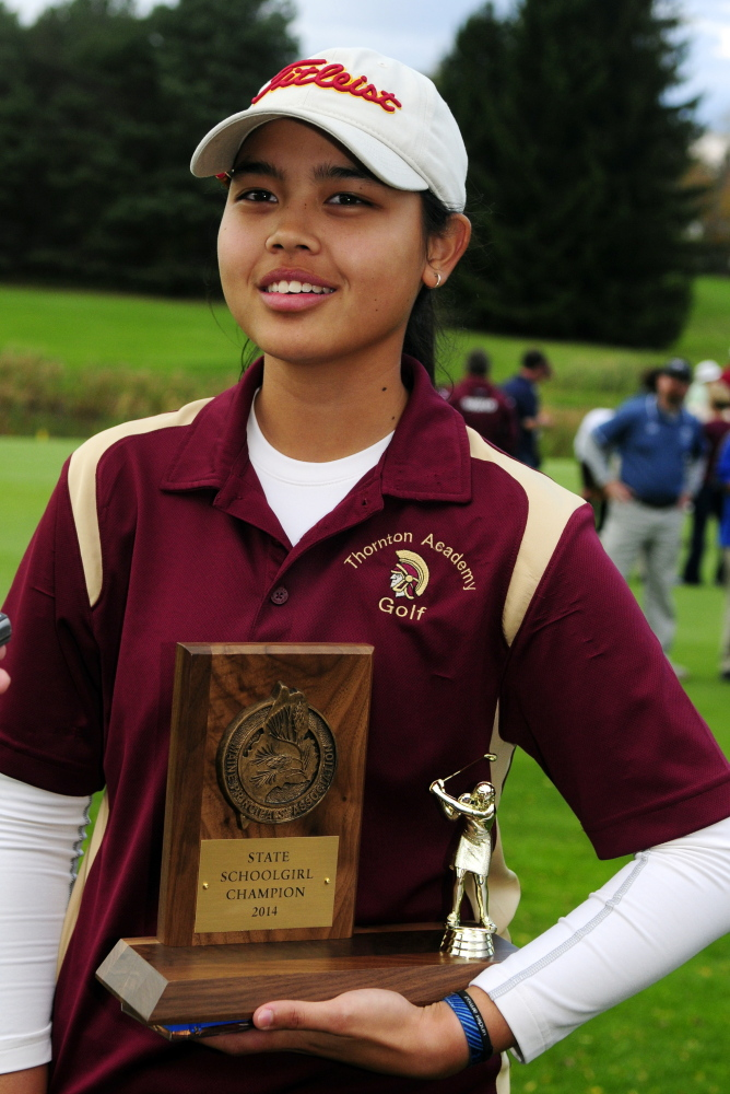 Hashilla Rivai of Thornton Academy posted the lowest round of the day, shooting a 2-under 70 on the Arrowhead course to capture the schoolgirl title.