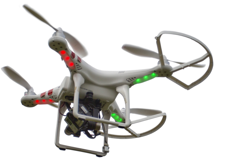 A Phantom 1 quadcopter, an earlier model of the drone used to shoot the aerial video footage.