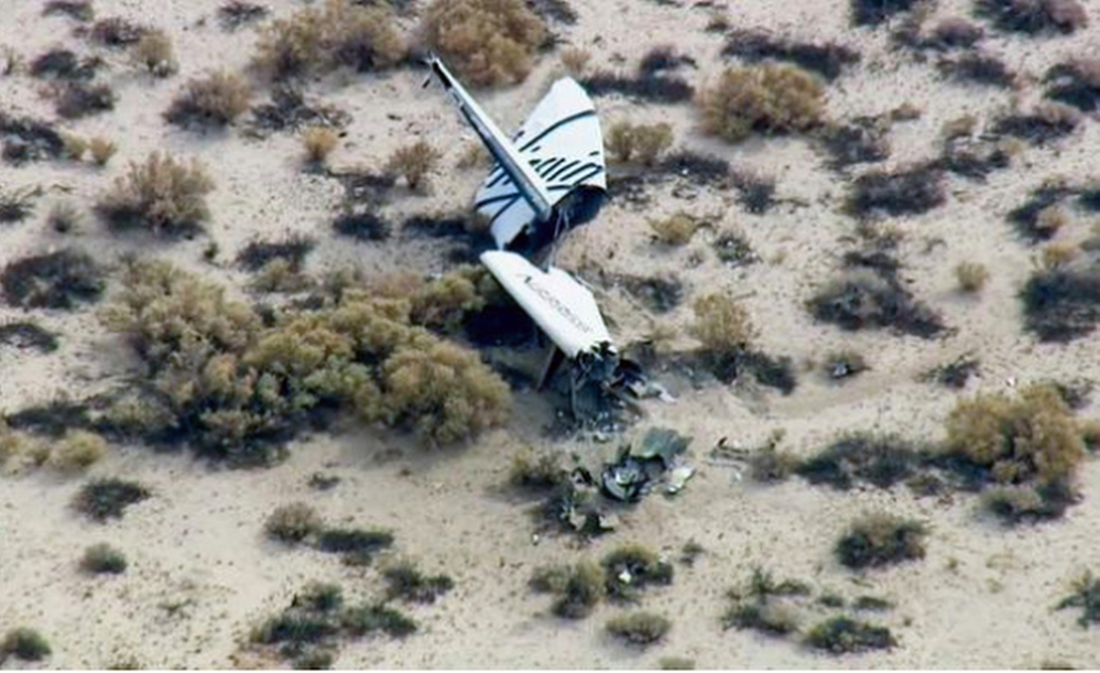 The wreckage of what is believed to be Virgin Galactic's SpaceShipTwo is strewn in Southern California's Mojave Desert on Friday.