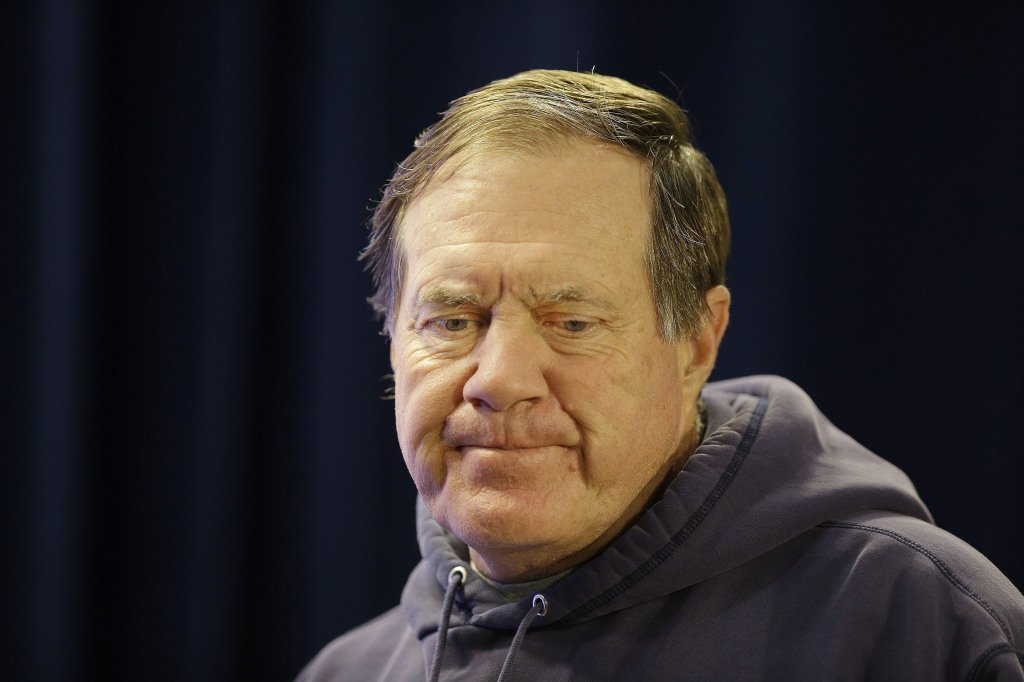 New England Patriots head coach Bill Belichick take reporters' questions Wednesday during a news conference at the team's facility  in Foxborough, Mass. The Patriots, 2-2,  will face the 3-0 Cincinnati Bengals Sunday at home. The Associated Press