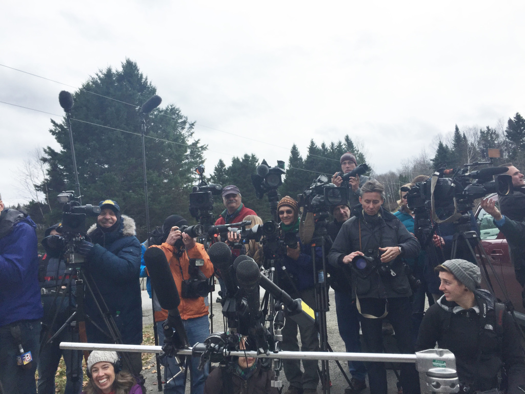Media congregate outside a home in Fort Kent in preparation for a news conference by Kaci Hickox, who has been staying there since returning from caring for Ebola patients in Sierra Leone.