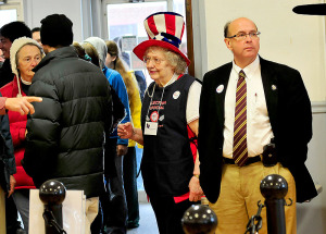 Secretary of State Matt Dunlap went to Waterville on Election Day to observe voting at the Bourque Lanigan American Legion. At left is election clerk Germaine Gooldrup.