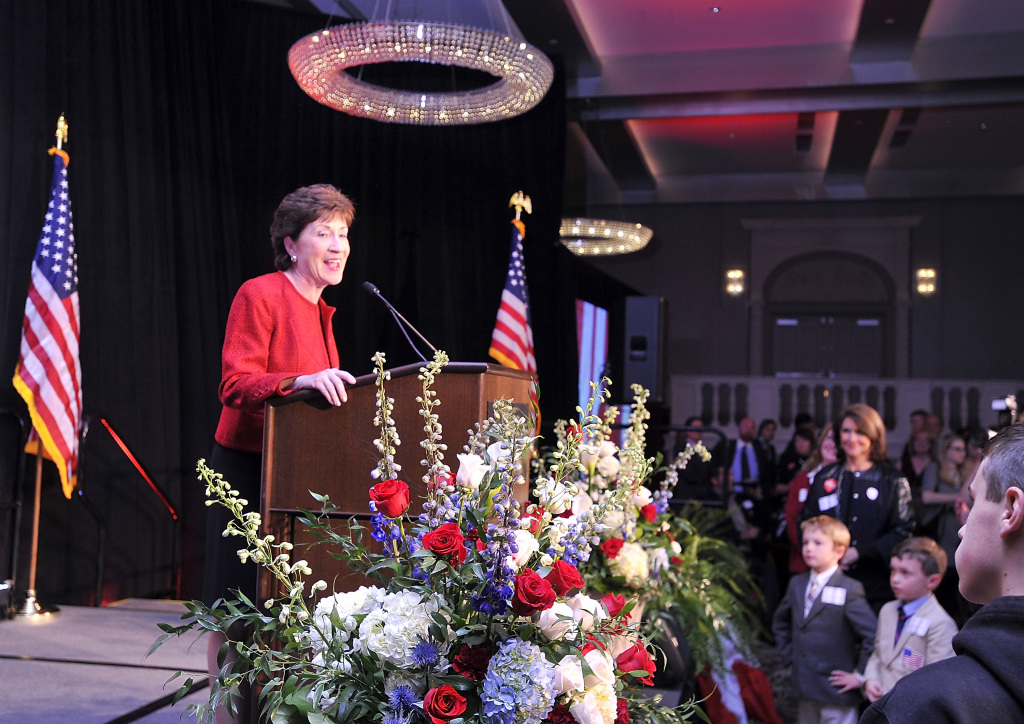 U.S. Sen. Susan Collins thanks her supporters, staff and volunteers at a party at the Westin in Portland on Tuesday.