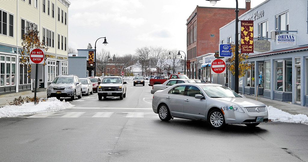 Cars pass through the one-way section of Ocean Street in Knightville.