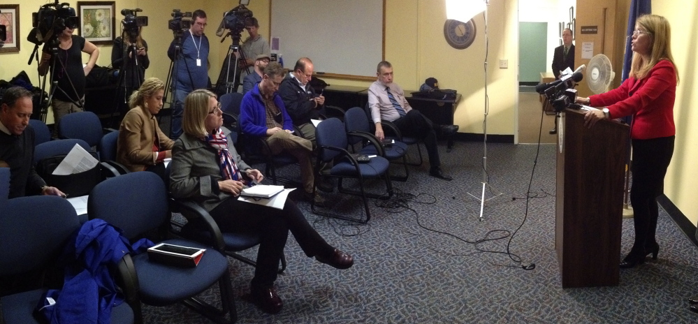 State Health and Human Services Commissioner Mary Mayhew talks at a news conference Wednesday about the state's response to travelers who've been exposed to the Ebola virus.