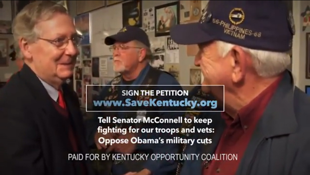 In this image from video from an ad released by the group Kentucky Opportunity Coalition, Sen. Mitch McConnell, R-Ky., shakes hands with a Vietnam veteran. The high-quality footage is just sitting McConnell's campaign website, available to anybody who might want to make it part of a campaign commercial in this year's high-stakes Senate elections. The law prohibits any candidate from coordinating with groups who may share the goal of winning an election to Congress this year. But nothing says a group like the Kentucky Opportunity Coalition can't use the public footage of McConnell, in a campaign commercial that ultimately helps the Senate's minority leader win a sixth term. (AP Photo/Kentucky Opportunity Coalition)