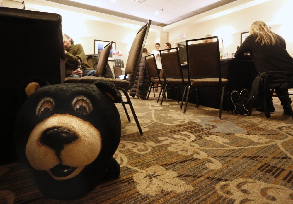 The scene quiets down at Yes on 1 campaign headquarters in the Embassy Suites hotel as election night drags on with no definitive results on the referendum question.