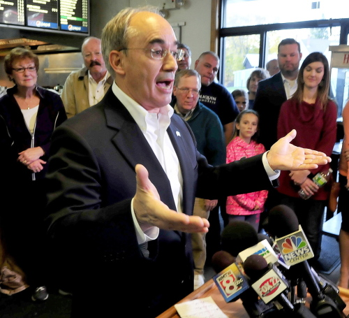 Bruce Poliquin outlines his plans as the newly elected representative of Maine's 2nd Congressional District during a news conference in Oakland on Wednesday.