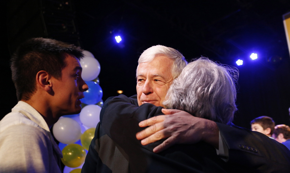 Mike Michaud accepts defeat early Wednesday morning at Port City Music Hall – the first time the longtime Democratic politician has tasted defeat in more than three decades of public life.