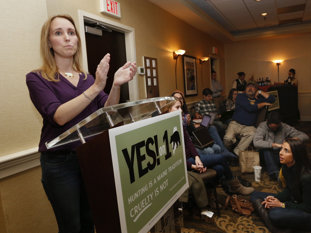 Campaign director Katie Hansberry thanks supporters of Question 1 during their election night gathering at a Portland hotel. The question was rejected by 53 percent to 47 percent.