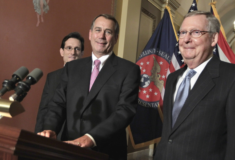 Strengthened by Tuesday's results, House Majority Leader Eric Cantor, Speaker John Boehner and soon to be Senate Majority Leader Mitch McConnell present a united front.